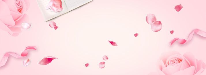玫瑰花浪漫粉色七夕情人節banner 玫瑰花 浪漫 粉色 七夕 情人節 玫瑰 唯美 文藝 banner, 玫瑰花, 浪漫, 粉色 背景圖片