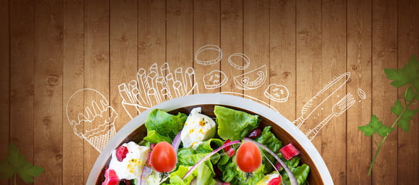 salad board hand painted line, Food, Banner, Creative Cuisine Background image