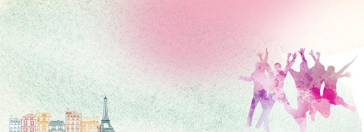 フレッシュスタートシーズンテーマポスター 開幕シーズン ピンク シルエット キャラクター 市 ビル 単純な 新鮮な, 開幕シーズン, ピンク, シルエット 背景画像