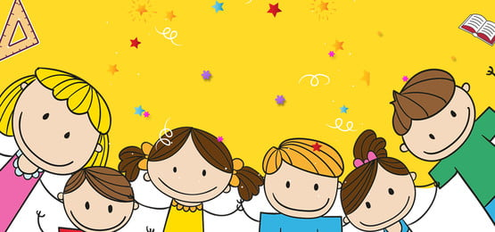 School Season Teachers Day Cartoon Yellow, Student, Party, Banner, Background image