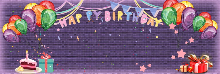 simple atmosphere senior purple cartoon wind, Balloon, Gift Box, Cake Background image
