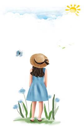 簡約野外遊玩卡通海報背景 簡約 卡通 海報 野外 出行 背景 兒童 青草 太陽 蝴蝶 , 簡約, 卡通, 海報 背景圖片