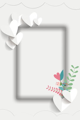 simple flower frame white , Love, Balloon, Branches And Leaves Background image
