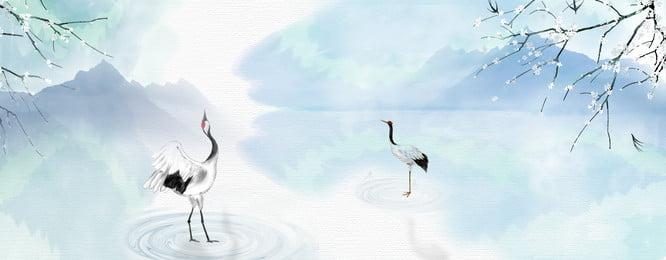 Conception artistique fraîche et simple reflet de fantaisie grue fond antique Simple Frais Conception artistique Rêve Paysage Réflexion Aquarelle Grue Plante Style ancien Le Fond Simple Frais Image De Fond