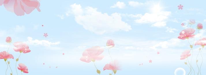 간단하고 신선한 코스모스 꽃 식물 모자이크 배너 단순한 신선한 꽃 꽃 우주 하늘 식물 구름 흰 구름 자연 바느질 배경 배너 배너, 구름, 자연, 바느질 배경 이미지