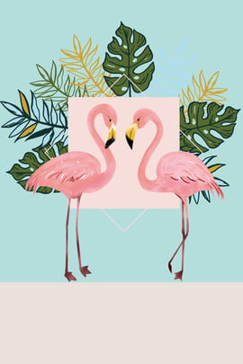 criativo sintético ins vento simples folha de árvore flamingo sombreamento padrão caricatura literário síntese , árvore, Flamingo, Sombreamento Imagem de fundo