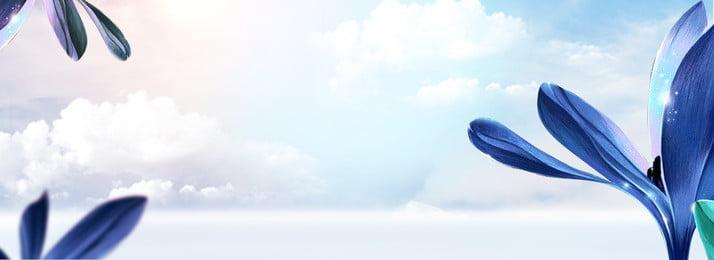 Banner de cartaz de fundo de flor do céu Sky Pétala Nuvens brancas Halo Light Gradiente Azul Quente Confortável Ponto de Sky Pétala Nuvens Imagem Do Plano De Fundo