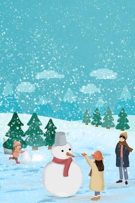 Poster trại tuyết mùa đông vui vẻ Tuyết Tuyết mùa đông Áp Rơi Dày Trong Hình Nền