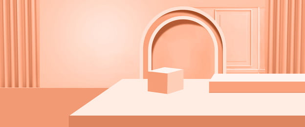 stereoscopic geometric c4d coral orange, Three-dimensional Space, Irregular Shape, Booth Background image