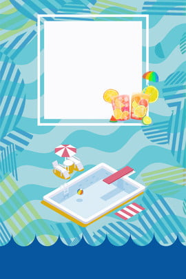 summer poster blue swimming pool cool , Illustration, Shading, Newest Background image