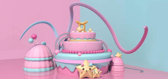 sweet candy colors pink blue, Gemini, C4d Scene, Cake Background image