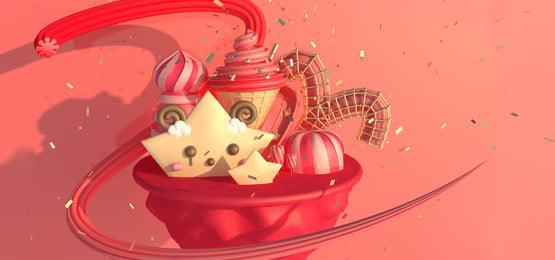 甜蜜的糖果星座白羊座, 紅色, 熱情, C4d場景 背景圖片