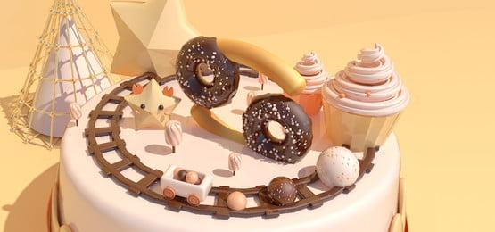 甜蜜糖果星座癌症, 黃色, 奶油色, C4d場景 背景圖片
