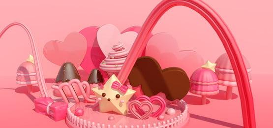 甜蜜的糖果星座處女座, 粉紅色, C4d場景, C4d糖果 背景圖片
