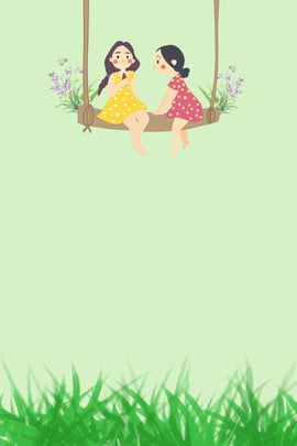 đu hoa cô bé cỏ , đơn Giản, Tươi Mát, Văn Học Ảnh nền
