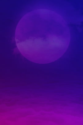 Tanabata Dream Purple Gradient Poster, Magpie, Moon, Cloud, Background image