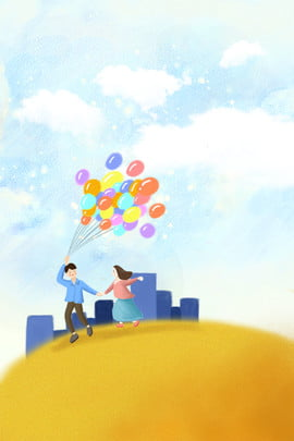 tanabata hand painted couple outdoor , Play, Blue Sky, White Clouds Background image
