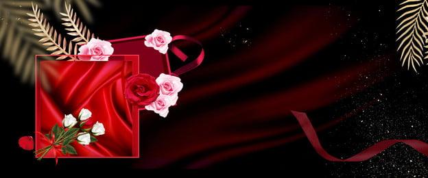 Tanabata Valentines Day Red Silk, Gift Box, Banner, Gift, Background image