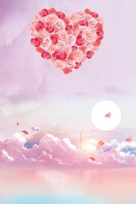 चीनी वेलेंटाइन डे रोज फ्लावर मून पोस्टर तानाबाता वेलेंटाइन का दिन गुलाब गोल , समुद्र, पत्ती, रोमांटिक पृष्ठभूमि छवि