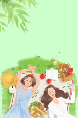 कार्टून हवा संवर्धित नमस्ते न्यूनतर पृष्ठभूमि किशोर लड़की घास का , पत्ती, भोजन, टोकरी पृष्ठभूमि छवि