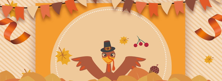 thanksgiving cartoon small flag turkey, Ribbon, Maple Leaf, Thanksgiving Poster Background image