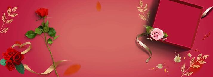 thanksgiving rose flower gift box, Red Background, Ribbon, Gift Background image