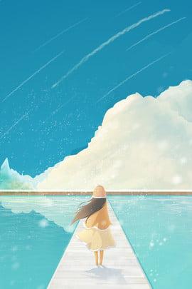 冬のエキゾチックな海辺の旅行女の子美しいイラスト風ポスター 旅行する 旅行のポスター 海外へ行く 少女 美しい イラストレーターのスタイル 衣服 ポスター , 冬のエキゾチックな海辺の旅行女の子美しいイラスト風ポスター, 旅行する, 旅行のポスター 背景画像