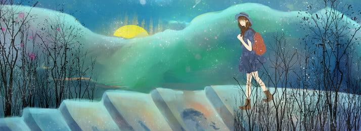 cô gái phiêu lưu ngoài trời minh họa poster gió du lịch cô gái phiêu, Trời, Thang, Mặt Ảnh nền