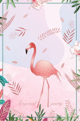 tropical flamingo nordic style plant , Hand Painted, Lovely, Cartoon Background image