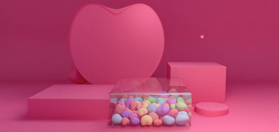 Valentines Day Fashion C4d Three-dimensional Space, Valentines Day Booth, Romantic, Pink Background Poster, Background image