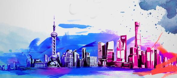màu nước xây dựng biểu ngữ shanghai, Poster, Tòa Nhà Màu Nước, Nền Kiến trúc Ảnh nền