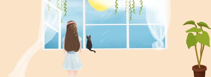 खिड़की से लड़की दृश्यों के पोस्टर को देखती है खिड़की लड़की सीनरी पौधा पॉटेड प्लांट इंडोर सजावट गृहस्थी कपड़े का, प्लांट, इंडोर, सजावट पृष्ठभूमि छवि