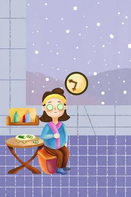 winter beauty home skin care , Female, Mask, Illustrator Style Background image