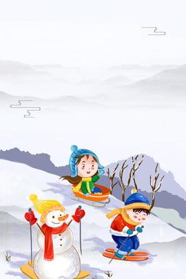 冬令營滑雪卡通海報下載 冬令營 滑雪 卡通 雪人 男孩 女孩 冬天 雪花 海報 背景 , 冬令營滑雪卡通海報下載, 冬令營, 滑雪 背景圖片