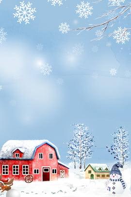winter winter campテーマポスター ウィンターキャンプ 冬 単純な 文学 新鮮な スノーフレーク フラワーブランチ 家 雪が降る , ウィンターキャンプ, 冬, 単純な 背景画像