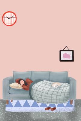 冬の女の子の家、寒い女の子の家のポスター 冬 寒い ホーム 少女 ソファ 動物 イラストレーターのスタイル , 冬, 寒い, ホーム 背景画像