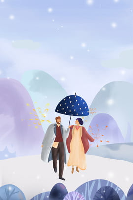 winter couple appointment romantic , Travel, Clothing, Illustrator Style Background image