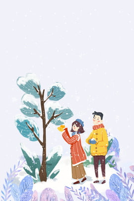 winter couple appointment snow scene , Snow, Clothing, Outdoor Background image