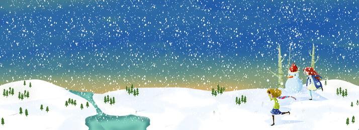 冬の雪に覆われた雪の背景 冬 大雪 雪が降る 雪だるま 雪のシーン 手描きの文字 冬 文学, 冬, 大雪, 雪が降る 背景画像