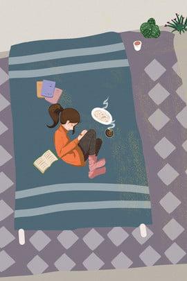 冬の家の怠惰な少女の家のポスター 冬 ホーム 少女 動物 デコレーション 屋内 休暇 ポスター , 冬の家の怠惰な少女の家のポスター, 冬, ホーム 背景画像