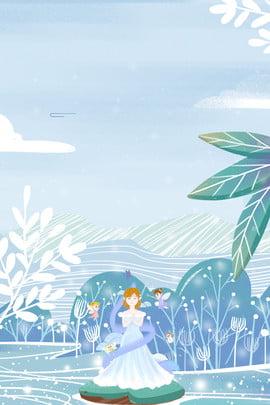 雪之女王冬日主題插畫海報 冬天 冰雪 雪花 人物 女神 精靈 植物 藍色 服裝 護膚品 插畫風 , 雪之女王冬日主題插畫海報, 冬天, 冰雪 背景圖片