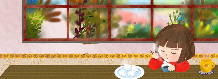 सर्दियों में घर पर पकौड़ी खाने वाली लड़की सर्दी इंडोर गृहस्थी पकौड़ी भोजन लड़की गरम खिड़की के बाहर चित्रकार, बाहर, चित्रकार, के पृष्ठभूमि छवि