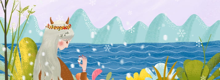 Winter Lakeside Snowing Girl, Character, Illustrator Style, Skin Care Products, Background image