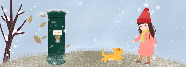 Winter Literary Snowing Girl, Animal, Hand Painted, Illustrator Style, Background image