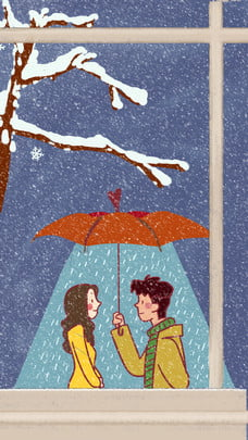 winter snowing romantic couple , Love, Creative, Outside The Window Background image