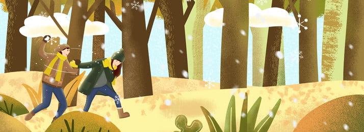 冬日森林玩耍情侶溫馨插畫風背景 冬天 下雪 雪花 玩耍 森林 溫馨 情侶 愛情 服裝 出行, 冬日森林玩耍情侶溫馨插畫風背景, 冬天, 下雪 背景圖片