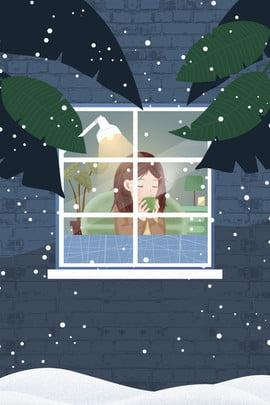 बर्फीली रोशनदान के सामने कॉफी पीती लड़की सर्दी हिमपात गरम कॉफ़ी खिड़की के सामने पेड़ , के, पत्ती, लड़की पृष्ठभूमि छवि