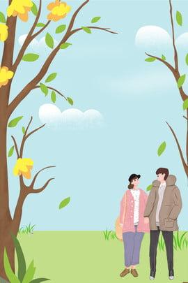 सनी सर्दियों की सैर के लिए युगल पोशाक पोस्टर सर्दी सनी का दिन यात्रा प्रेमी कपड़ा त्वचा , देखभाल, सर्दी, सनी पृष्ठभूमि छवि