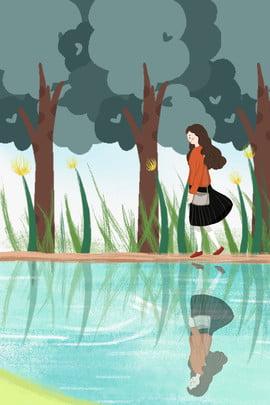 विंटर सनी गर्ल ट्रैवल पोस्टर सर्दी सनी का दिन यात्रा , का, पौधा, पेड़ पृष्ठभूमि छवि