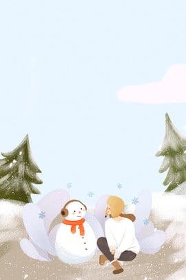 冬日戶外堆雪人女孩出行海報 冬天 出行 旅行 女孩 戶外 堆雪人 人物 插畫風 , 冬日戶外堆雪人女孩出行海報, 冬天, 出行 背景圖片